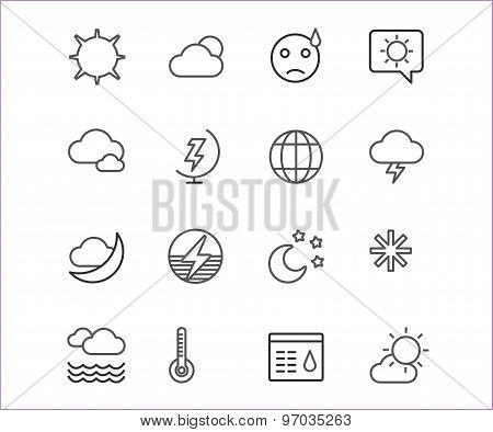 Weather icons vector outline set. Moon, sky or wind and cloud symbols. Stocks Design Element.