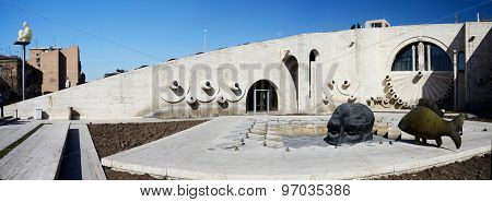 Modern art objects skull and fish at Yerevan Cascade giant stairway in Yerevan Armenia