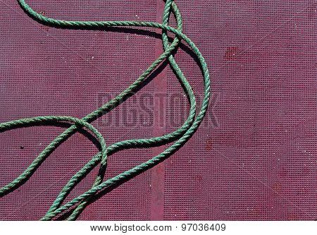 Green Rope Fishing Boat Deck