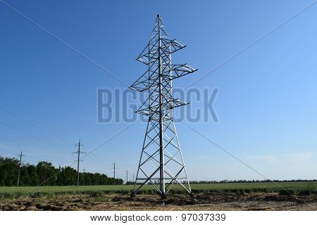 Construction Of A High-voltage Power Line.