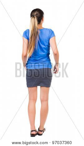 back view of standing young beautiful  woman.  girl  watching. Rear view people collection.  backside view of person.  Isolated over white background. Girl in a gray skirt and blue shirt stands