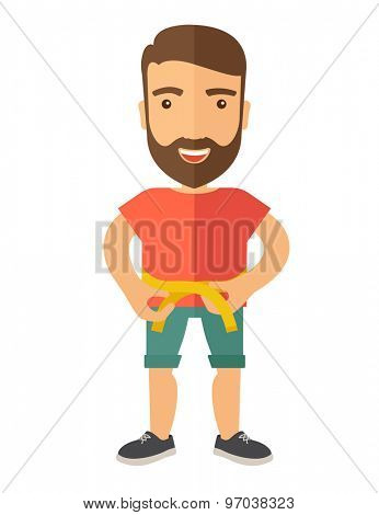 A caucasian is practicing karate exercise without a karate costume. A Contemporary style. Vector flat design illustration isolated white background. Vertical layout.
