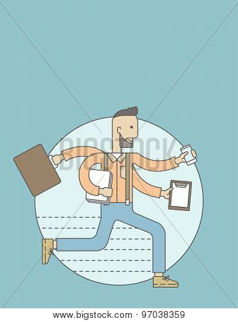 A multitasking job is a man with many hands with successful planning elements, can handle many paper works. Time management concept. A Contemporary style with pastel palette, blue tinted background