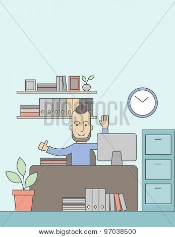 A very happy caucasian businessman sitting while raising his both hand finished his work with laptop and paper works on time inside his office. Achievement concept. A Contemporary style with pastel