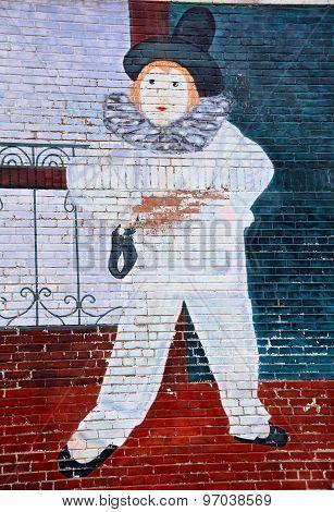 Street art Montreal harlequin