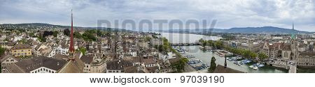 ZURICH, SWITZERLAND-JUNE 6, 2012: A 180 degree panorama of the city of Zurich, Switzerland seen from the top of Grossmunster.