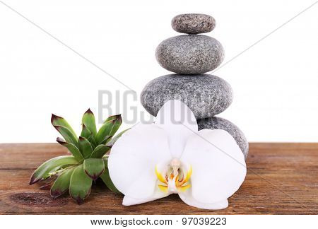 Spa stones with succulent and orchid on wooden table isolated on white