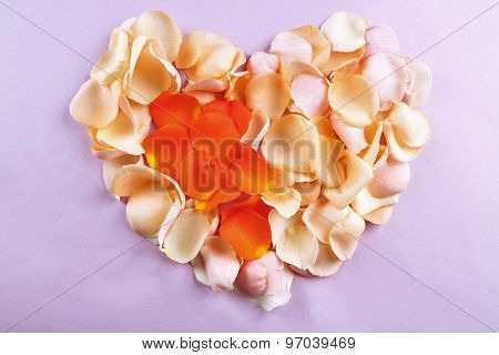 Beautiful heart of rose petals on purple background