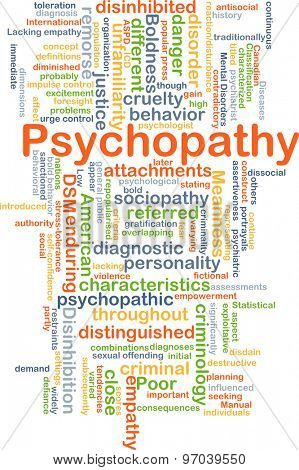 Background concept wordcloud illustration of psychopathy