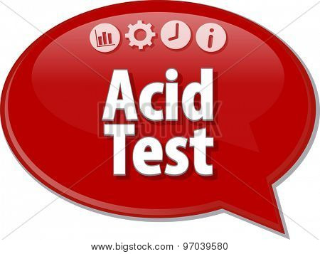 Speech bubble dialog illustration of business term saying Acid Test
