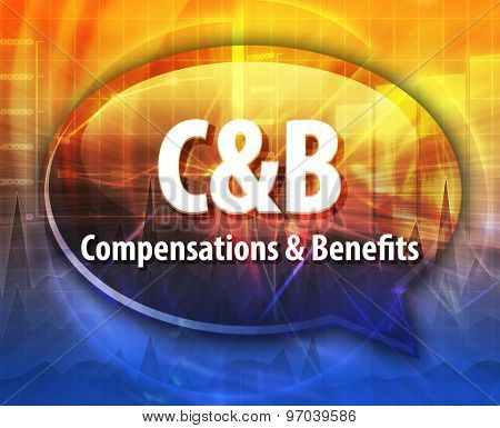 word speech bubble illustration of business acronym term C&B Compensations & Benefits