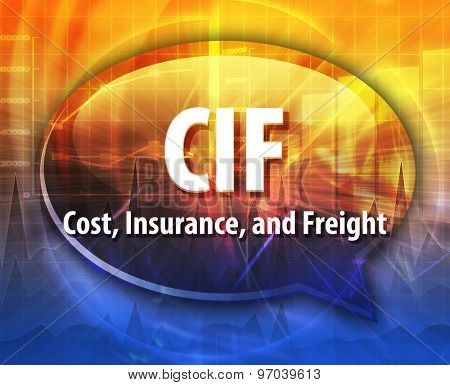 word speech bubble illustration of business acronym term CIF Cost Insurance Freight