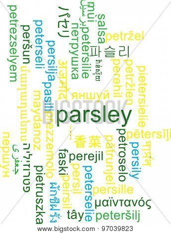Background concept wordcloud multilanguage international many language illustration of parsley