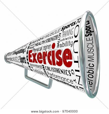 Exercise bullhorn or megaphone for coaching or training for physical conditioning in weight loss, strength building or health wellness regimen