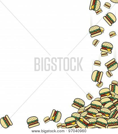 Background of the falling burgers. Preparation for design