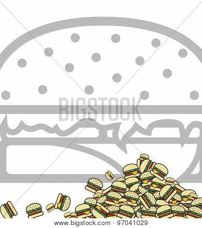 Background of poured hamburgers. Preparation for design. Vector