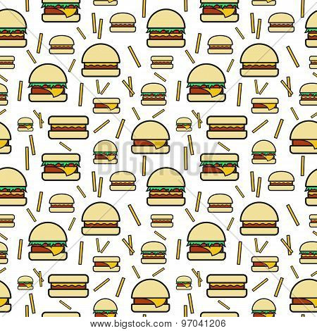 Seamless pattern of burgers and fries on white background