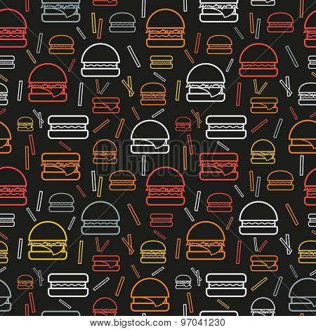 Seamless pattern of colored burgers and fries on grey background