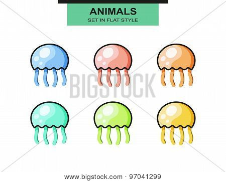 Set of jellyfish in flat style with strokes, different colors