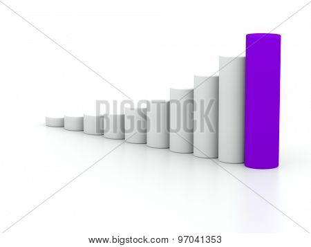 chart success of the cylinders on a white background with a purple leader. 3d