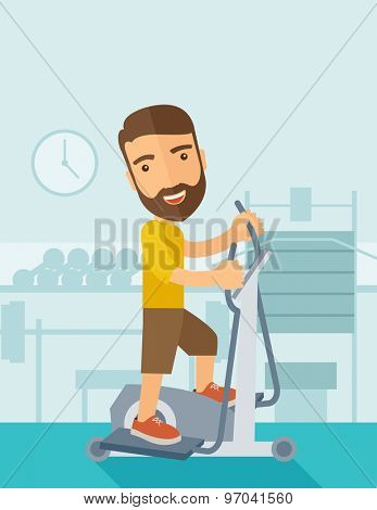 A happy caucasian in gym sport workout exercises. Contemporary style with pastel palette, soft blue tinted background. Vector flat design illustrations. Vertical layout with text space on top part.