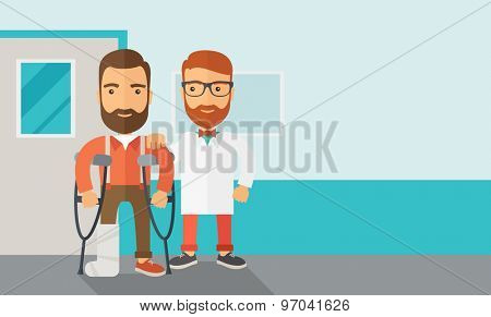 An injured man in crutches assisted by a doctor. Safety concept. Contemporary style with pastel palette, soft blue tinted background. Vector flat design illustrations. Horizontal layout with text