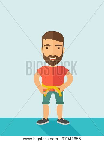 A caucasian is practicing karate exercise without a karate costume. Contemporary style with pastel palette, soft blue tinted background. Vector flat design illustrations.  vertical layout with text