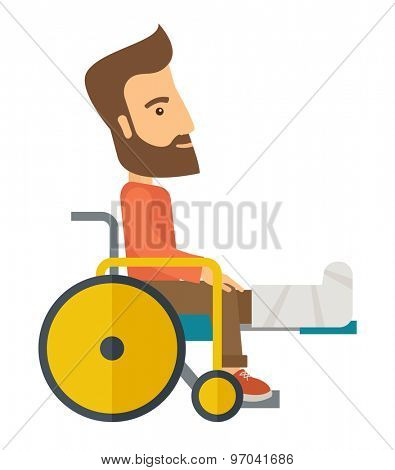 A Man in a wheelchair with broken bone. A Contemporary style. Vector flat design illustration isolated white background. Vertical layout.