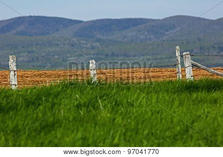 Wooden Fence Grass Hills