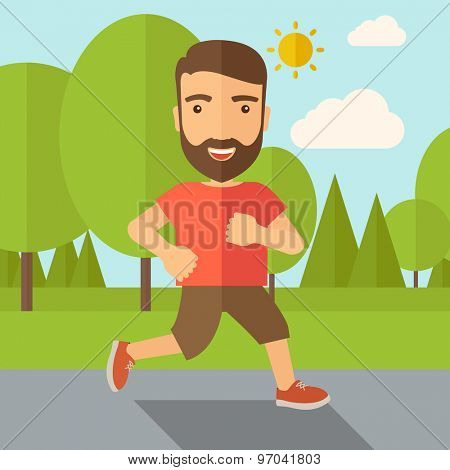 A confident hipster athlete getting ready fo a running race. Contemporary style with pastel palette, soft blue tinted background with desaturated cloud. Vector flat design illustrations. Square layout