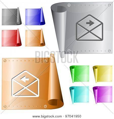 mail left arrow. Vector metal surface.