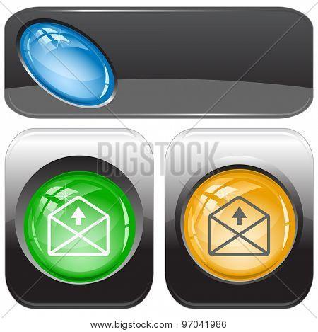 mail up arrow. Vector internet buttons.