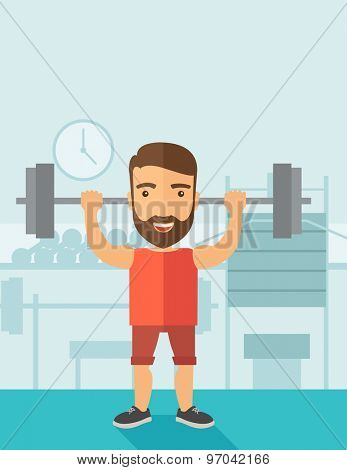 A handsome caucasian man lifting a barbell with fitness attire inside the gym. Contemporary style with pastel palette, soft blue tinted background. Vector flat design illustrations. Vertical layout