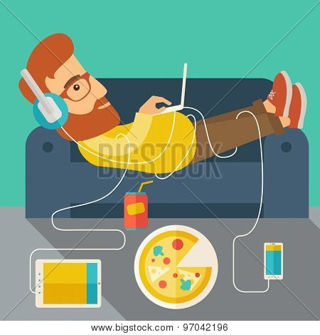 A Young caucasian man with headphone lie on the sofa listening music with pizza. Contemporary style with pastel palette, soft green tinted background. Vector flat design illustrations. Square layout.
