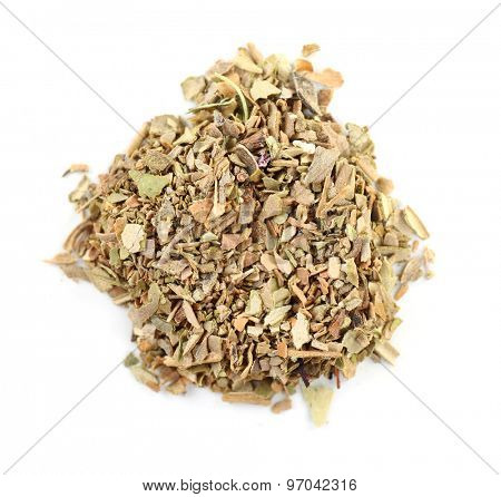 Pile of herbal tea isolated on white