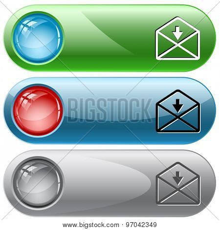 mail down arrow. Vector internet buttons.