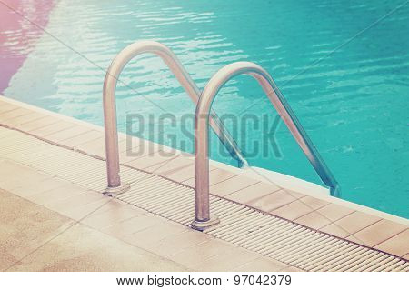 Swimming Pool With Stairs With Vintage Effect.