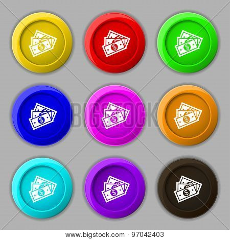 U.s Dollar Icon Sign. Symbol On Nine Round Colourful Buttons. Vector