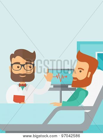 A medical caucasian patient being treated by an expert doctor in a hospital room. Contemporary style with pastel palette, soft blue tinted background. Vector flat design illustrations. Vertical layout