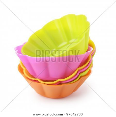 Silicone baking cups isolated on white