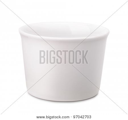 White porcelain oven bowl isolated on white