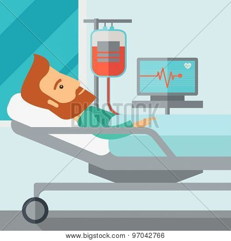 A caucasian patient in hospital bed in having a blood transfussion being monitored. Contemporary style with pastel palette, soft blue tinted background. Vector flat design illustrations. Square layout