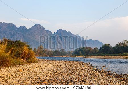 River Near Mountain In Vangvieng
