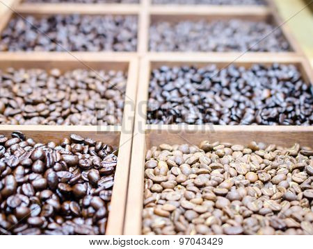 Different varieties of coffee beans for background