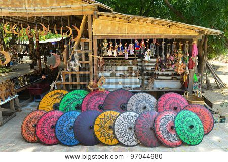 Handicraft colorful umbrella are sold in travel places in Bagan, Myanmar