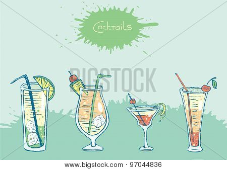 Set of isolated colorful sketch cocktails and drinks. Vector illustration