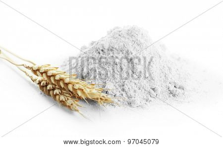 Whole flour with wheat ears isolated on white