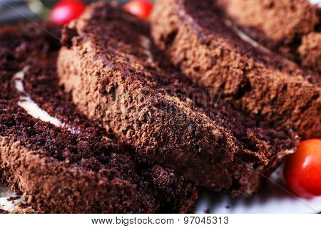 Delicious chocolate roll, closeup
