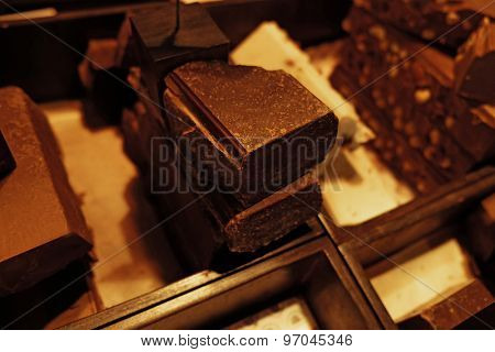 Set of chocolate on table close up