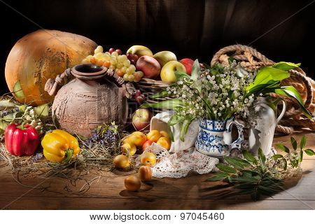 Still Life With Ceramic Jar And Fruits